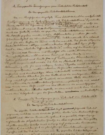 Manuscrito de la primera página de la Teoría General de la Relatividad